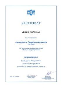 Zertifikat: Angewandte Öffnungstechniken