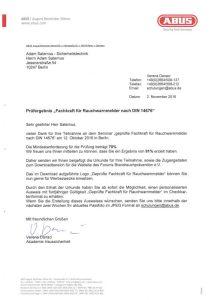 Zertifikat: ABUS Fachkraft für Rauchwarnmelder nach DIN
