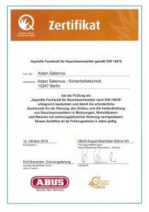 Zertifikat: Geprüfte Fachkraft für Rauchwarnmelder