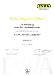 Zertifikat: Schulung EVVA Access Designer