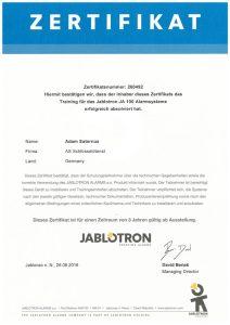 Zertifikat: Jablotron Training für Alarmsysteme