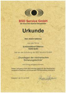 Zertifikat: Urkunde für Grundlagen der mechanischen Sicherungstechnik
