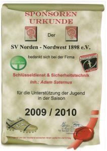 Zertifikat: Sponsorenurkunde für Jugendunterstützung 2009/2010
